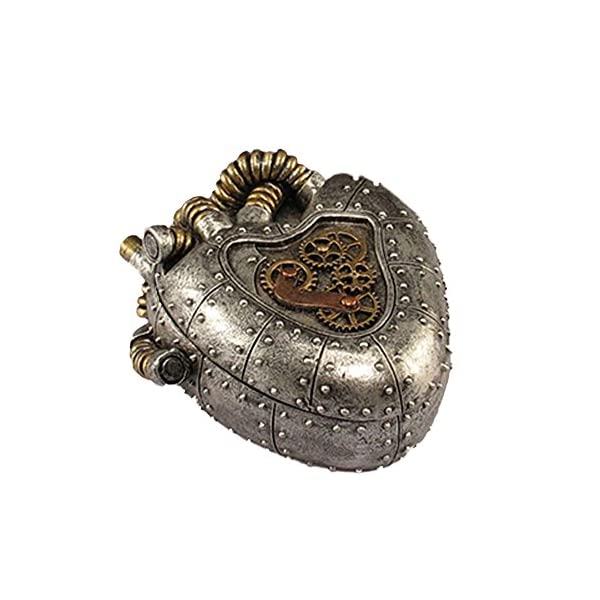 "Steampunk Anatomical Realistic Heart Shaped Box Trinkets and Treasures Silver Pewter Gold Box 5"" X 4"" X 2"" SW-03 3"