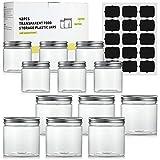 12 tarros pequeños de plástico transparente sin BPA con tapa de rosca de aluminio (6 piezas x 350ml, 6 piezas x 150ml, 15 piezas de etiquetas de pizarra negra)