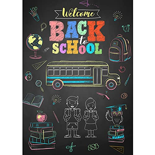 Maijoeyy 3x5ft Back to School Backdrop School Backdrop Blackboard Chalk Drawing Bus Back to School Photo Backdrop Back to School Theme Party Decorations Photography Backdrops