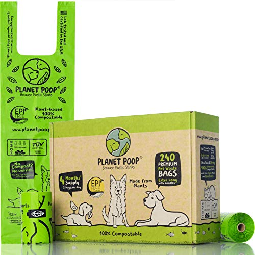 Compostable Dog Poop Bag 240 Count Poop Bags for Dogs ExtraLong with Handles PlantBased Unscented Thick LeakProof Pet Waste Bag Refills Highest ASTM D6400 Pet Supplies Support Doggy Rescue