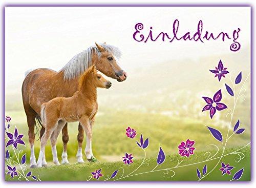 Sophies Kartenwelt 12 Pferde Einladungskarten Kindergeburtstag / Geburtstagseinladungen Mädchen Kinder / Einladungen Einhorn Blumen Pferdeparty