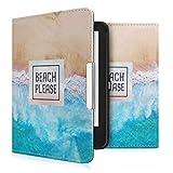kwmobile Tolino Shine 2 HD Hülle - Kunstleder eReader Schutzhülle Cover Case für Tolino Shine 2 HD - Beach Please Design Blau Braun