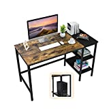 【MUTIFUNCTIONAL USE 】2-tier open shelves for storage, providing plenty of room for under-desk storage and organization. You can remove the middle shelf if you need space for a large computer chassis. 【VERSATILE USE】Rustic board and dark metal frame e...