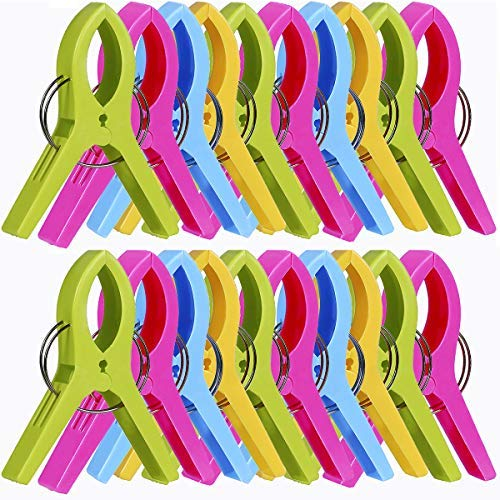 Paquete de 20 clips para toallas de playa, pinzas de plástico a prueba de viento para toallas de baño, soporte para silla de crucero..