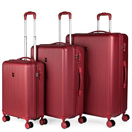 JASLEN - Juego Maletas rígidas 4 Ruedas Trolley 54 66 75 cm abs. s y Ligeras. candado TSA. 3 tamaños pequeña Mediana y Grande XL Estudiante. 171000, Color Rojo