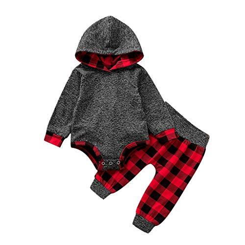 ZHANSANFM Baby Jungen Mädchen Kleidung Sets Rot Plaid Patchwork Hoodie Overall Strampler + Hosen Cartoon Outfit Jumpsuit Langarm Warme Kapuzenjacke Babykleidung Weihnachten 0-3Monat rot