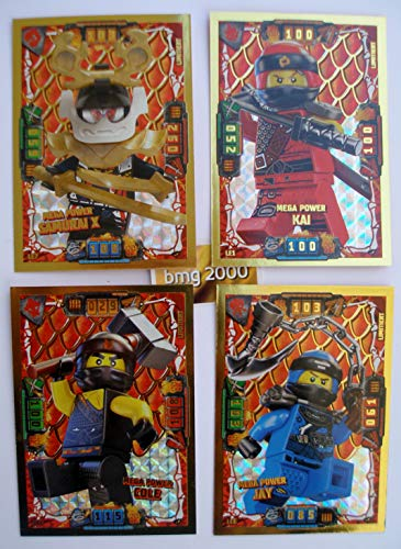 Lego Ninjago Serie 4 - 4 Limitierte Gold Karten Trading Card LE 1 Mega Power Kai LE 2 Mega Power Cole LE 6 Mega Power Jay LE 7 Mega Power Samurai X + 1 Ninja Schutzhülle + 1 Gold Sticker