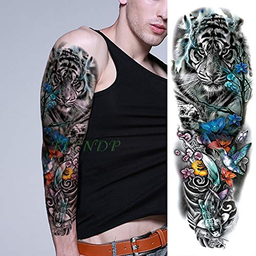 ljmljm 3pcs Impermeable Etiqueta engomada del Tatuaje del Arma Flor Máscara Chica de Pelo Largo Completo de Rama Grande Negro Tatto Tatuaje para los Hombres womenâ Azul 48x17cm