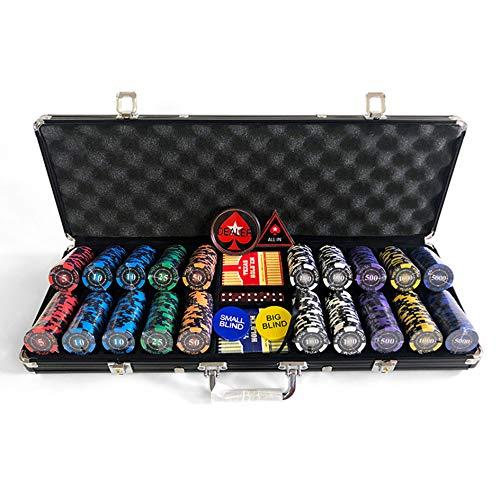 Set de Poker Póquer 500 Fichas de Poker,Texas Holdem,Blackjack Completo con Maletín de Aluminio,Juego de Fichas Plástico,Mini Casino Portátil,Contar marcadores matemáticos...