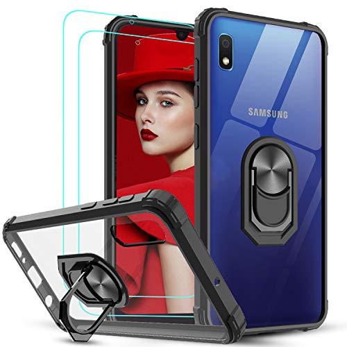 LeYi Funda Samsung Galaxy A10 con [2-Unidades] Cristal Vidrio Templado,Transparente Carcasa con 360 Grados iman Soporte Silicona Bumper Antigolpes Armor Case para Movil A10,Clear Negro