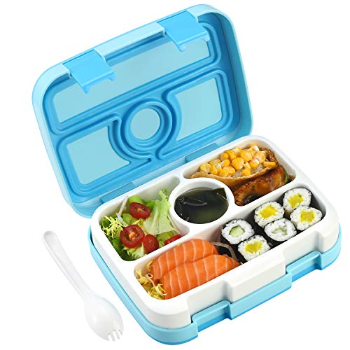 Bento Box for Kids Leakproof, Kids Lunch Box, ASOGO Lunch Box for Kids Travel Lunch Box with Spoon, BPA-Free, 4 Compartments Food Container Great for School, Picnics, Travel and More(Blue) (Blue)