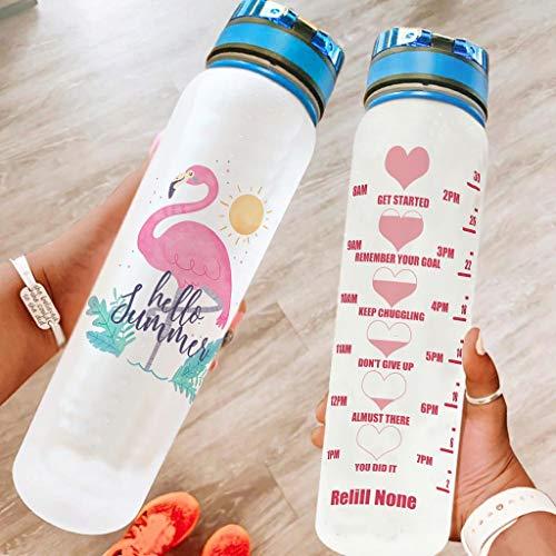 Bannihorse Botella de agua motivadora con correa de transporte, perfecta para camping, color blanco, 1000 ml