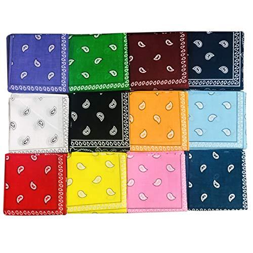 monochef 24pcs Bandanas 22 X 22 Inch 100% Cotton Bandana Novelty Double Sided Print Paisley Cowboy Bandana Party Favor Scarf Headband Handkerchiefs Two Dozen