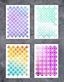 GSS Designs Patterns Oriental Stencil Template Set(4 Pack)- Geometric Stencil A5(6x8.25 Inch) - Art Painting for Card Making Canvas Furniture(SL-070)