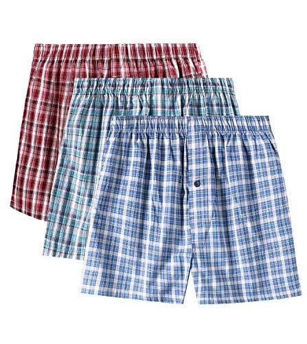 LAPASA Pack de 3 Calzoncillos Bóxer de Tela Hombre Talla Grande American Style 100% Algodón Pijama M40