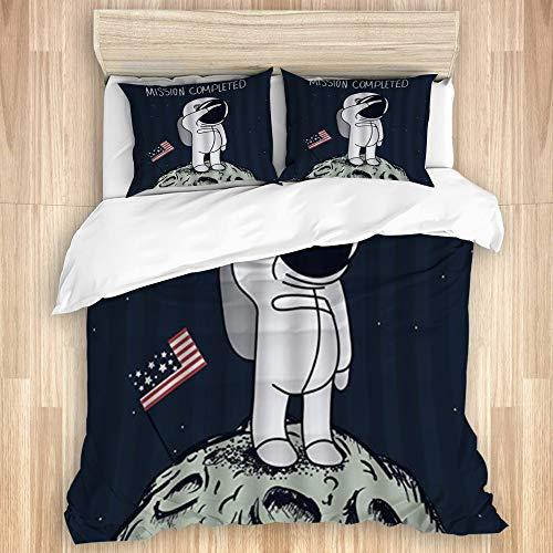 ALLMILL Juego de Ropa de Cama de 3 Piezas Microfibra,Dibujos Animados NASA Astronauta Aterrizaje en la Luna Bandera Estadounidense Aventura Espacial (140x200cm) y 2 Funda de Almohada (50x80cm)