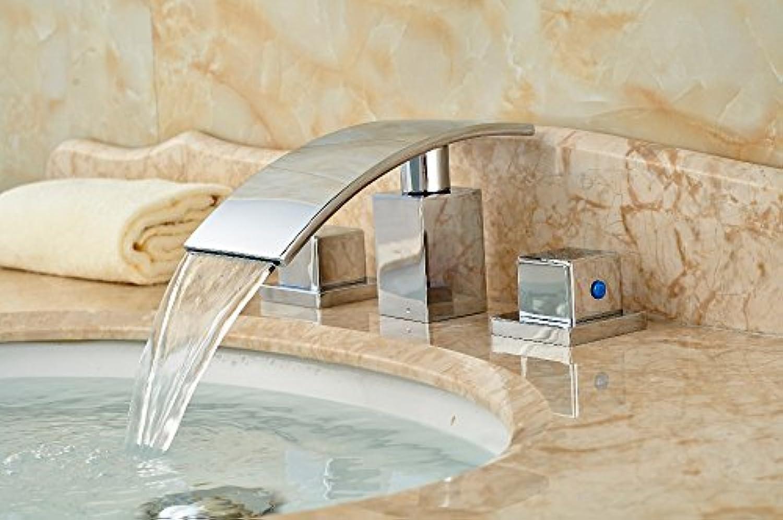Retro Deluxe Fauceting Deck montiert Wasserfall Auswurfkrümmer Badezimmer Waschbecken Wasserhahn Double Handles Mischbatterie