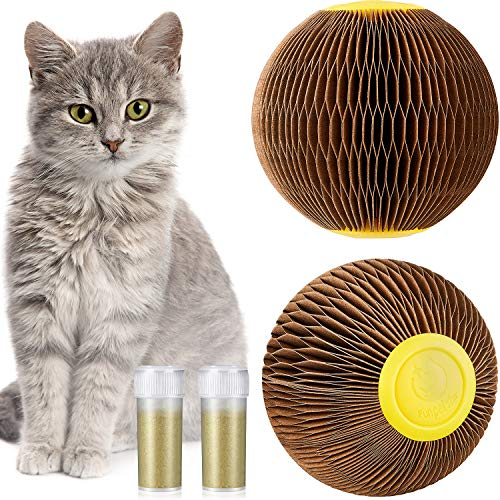 Sumind 2 Pieces Catnip Ball Toy for Cats Catnip Refillable Scratch Ball Interactive Play for Cat, Funny Toy for Cat Exercise Faithful Playmate Reduce Obesity and Loneliness