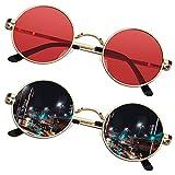SUNIER John Lennon Gafas pequeñas redondas para hombres y mujeres, polarizadas estilo hippie retro círculo gafas de sol marco dorado 2 unidades