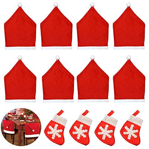 ZXT 8 Stück Weihnachten Stuhlhussen Deko,Stuhlhussen Weihnachten,Neuheiten Weihnachtliche Stuhlbezüge,Party Weihnachtsdeko Set,Stuhlabdeckung Dekorative Weihnachtsmann Mütze Rot Weihnachten Deko