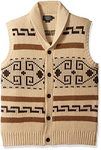 Pendleton Men's Westerley Sweater Vest, Tan/Brown-61161, LG