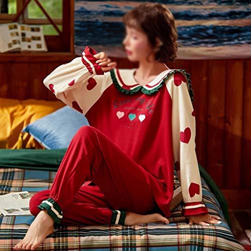 JYDQM 2020 Automne Hiver Pyjamas Femmes Volants Mignons Pyjamas Set Fille Grande Taille Maison Homewear Nuit Costume Pyjamas Manches Longues Pyjamas Ensemble (Color : B, Size : Medium)