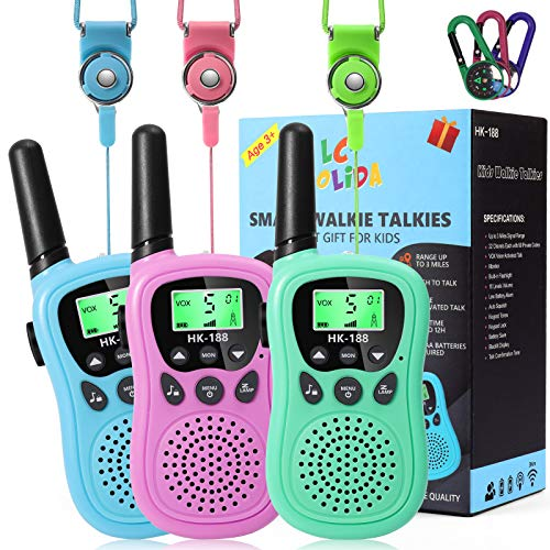 Walkie Talkies for Kids, 5KM Long Range Toys for 3-12 Year Old Boys Girls Gifts with Automatic Squelch Function Flashlight for Outdoor Camping Hiking- 3 Pack