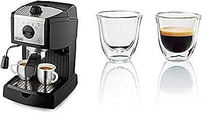 De'Longhi 15 bar Pump Espresso and Cappuccino Maker, Black & DeLonghi Double Walled Thermo Espresso Glasses, Set of 2, Regular, Clear