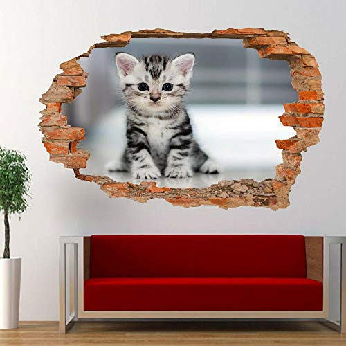 FHSFFS Pegatinas de pared Mascota gato lindo gatito etiqueta de la pared 3D arte mural oficina tienda decoración