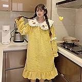 ZEEKYLY Damen Nachthemd Winter Damen Schöne Nachthemd Langarm Erdbeer Nachthemd Nachtwäsche Mädchen Homewear-XXL_65-75kg