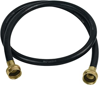 Everflow 25610 10 Feet Washing Machine Hose Durable Black Rubber, EPDM Rubber Tube & Cover, F3/4 Inch X F3/4 Inch Supply Line Spiral Polyester Reinforcement, Stamped Brass Hose Ends Made in USA