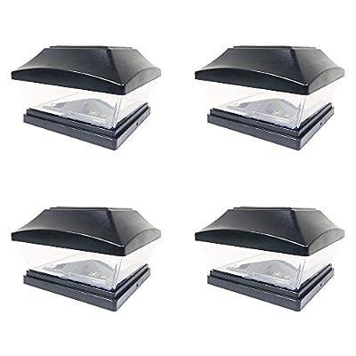 iGlow 4 Pack Copper / White Outdoor Garden 6 x 6 Solar SMD LED Post Deck Cap Square Fence Light Landscape PVC Vinyl Wood