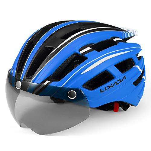 Lixada Mountain Bike Helmet Casco da Motociclismo con Luce Posteriore Staccabile Visiera Magnetica UV Protettiva (Blu Nero Bianco)