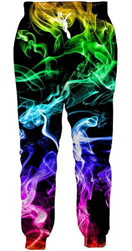 Loveternal Jogginghose Bunt Rauch Hipster Coole Jogger Lustige Sweatpants Casual Workout Jogginghose für Männer S