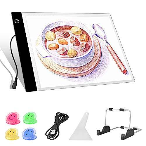 Benote A4 Light Box for Tracing LED Light Pad 3 Level Adjustable Brightness Light Board for Diamond Painting Streaming Sketching Animation Stenciling Weeding Vinyl