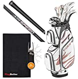 Cobra 2020 Women s F-MAX Airspeed Complete Golf Set PlayBetter Bundle with Extra Large Golf Caddy Towel & Cobra/PlayBetter Pitchfix Divot Tool (Right, Graphite, White)