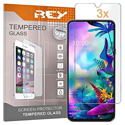 REY Pack 3X Panzerglas Schutzfolie für LG G8X THINQ, Bildschirmschutzfolie 9H+ Festigkeit, Anti-Kratzen, Anti-Öl, Anti-Bläschen