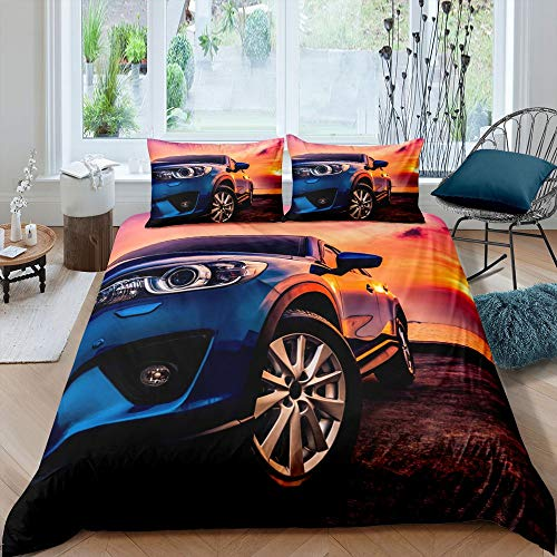 Homewish Teen Sports Car Bedding Set Double Size, Racing Car Duvet Cover Sunset Natural Landscape Comforter Cover, Extreme Sport Theme Fashion Decor Bedspread for Kid Teen Girl Boy Man Bedroom