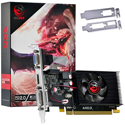 PLACA DE VIDEO AMD RADEON R5 230 2GB DDR3 64 BITS LOW PROFILE COM KIT INCLUSO - PCYes, PJR230RLP, 35513