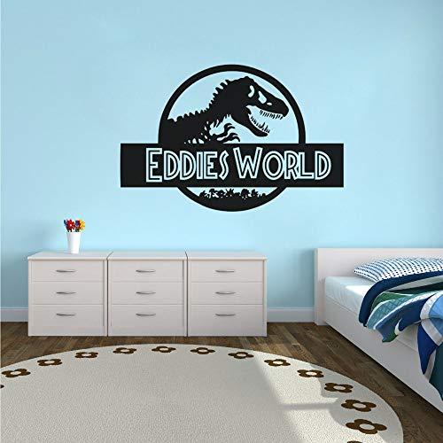etiqueta de la pared Decoración de la habitación de los niños Jurassic World Nombre personalizado Jurassic World Vinilo Dinosaur Style Wall Art