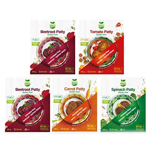 Veggie&Nature - Mezcla para hamburguesas veganas sin gluten, 5 paquetes: 1 de tomate, 1 de zanahoria, 1 de espinacas y 2 de remolacha