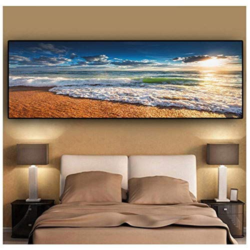 Bild druckt 50x150cm ohne Rahmen Sonnenuntergang Landschaft am Strand von Natural Gold Gemälde auf Leinwand Mediterrane Wandkunst Bild für Wohnzimmer