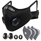 Reusable Face Dust Mask Adjustable for Woodworking Construction Outdoor(Black 1 Mask + 3 Extra Activated Carbon Filters)