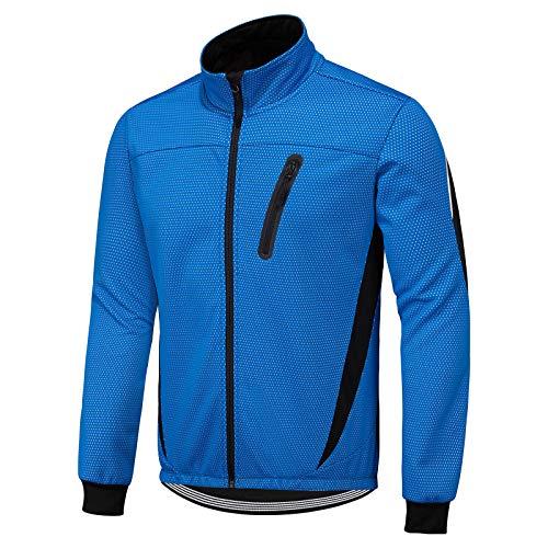 Lixada Giacca da Ciclismo da Uomo Antivento con Multi Tasche Pile Termico Maglia Ciclismo Invernale Impermeabile per MTB in Esecuzione Jogging, S-2XL