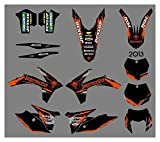 Zhbqcmou Motorcycle Style Team Graphics Background Decal Sticker Kit para KTM 125 200 250 300 350 450 500 500 Exc XC 2011-2013 hnzhb