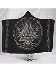 YEDL Supermjuk med huva filtar nordisk viking Valknut Yggdrasil livets träd keltisk knut mytologi tryck fleece fantasi kappa med huva sängkläder 150 x 200 cm
