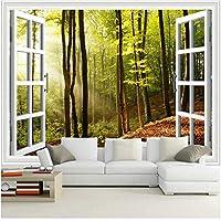 Xbwy 装飾壁画ウィンドウサンシャインフォレスト壁紙壁画リビングルーム背景壁の装飾壁画-150X120Cm