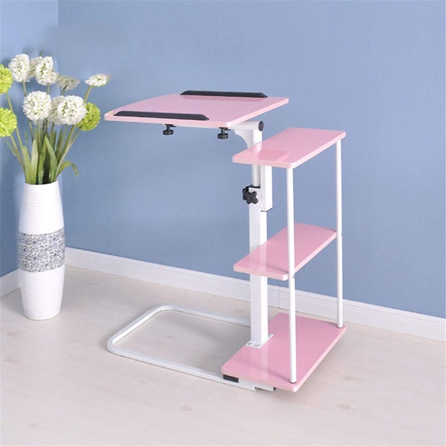 Bed Desk Overbed Table with Castors Adjustable Height and Angle Removable Laptop Desk with Wheels Bed Sofa Portable Stopper Ledge Student Dorm Home Office,B