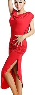(XX-Large, Red) - Motony Women New Style Latin Dance Dress Latin Dance Practise Costume Adult Performance Skirt Black