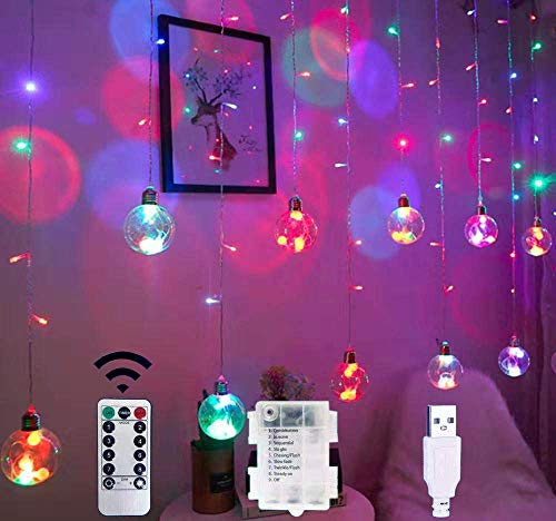 CHHD Rubans à LED,Curtain Lights, 12 Ball 138 LED Stars Window Rubans à LED Fairy Light with 8 Modes Remote USB Battery for Christmas Home Bedroom Party (Warm White)